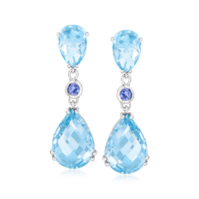 14.30 ct. t.w. Sky Blue Topaz and .20 ct. t.w. Tanzanite Drop Earrings in Sterling Silver