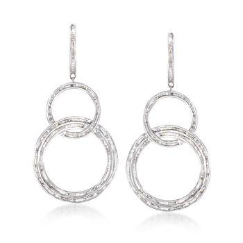 2.00 ct. t.w. Baguette Diamond Triple Circle Drop Earrings in Sterling Silver, , default