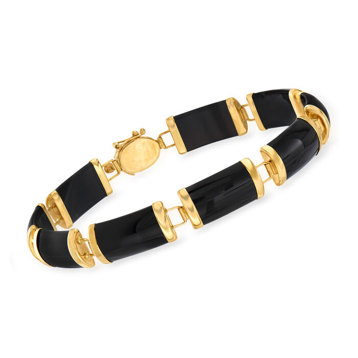 Black Agate Chinese Symbol Bar Bracelet in 14kt Yellow Gold