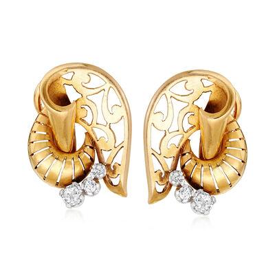 C. 1920 Vintage .35 ct. t.w. Diamond Swirl Earrings in 14kt Yellow Gold, , default