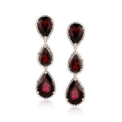 13.85 ct. t.w. Garnet Linear Earrings With Diamonds in Sterling Silver, , default
