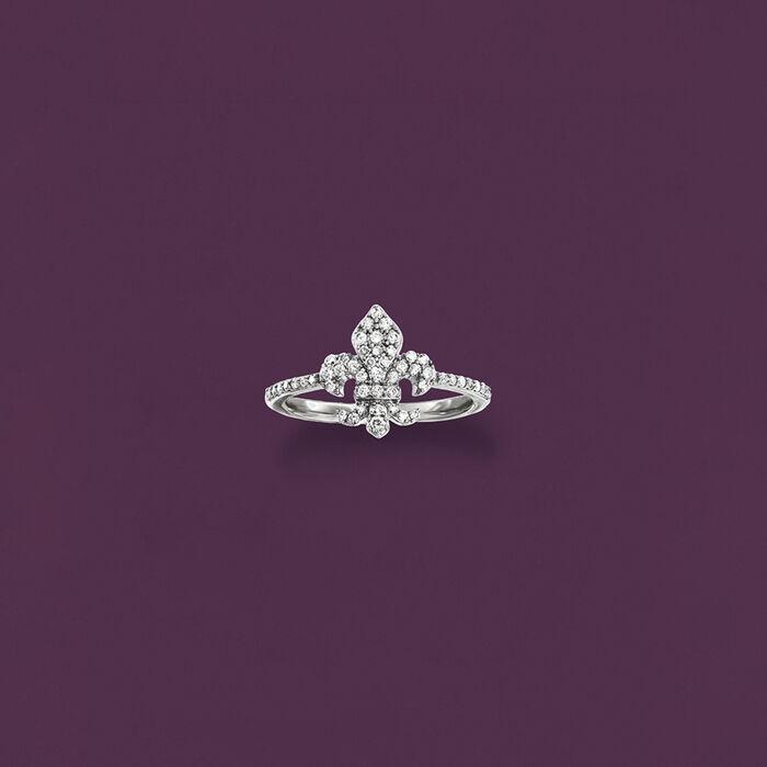 .33 ct. t.w. Diamond Fleur-De-Lis Ring in Sterling Silver