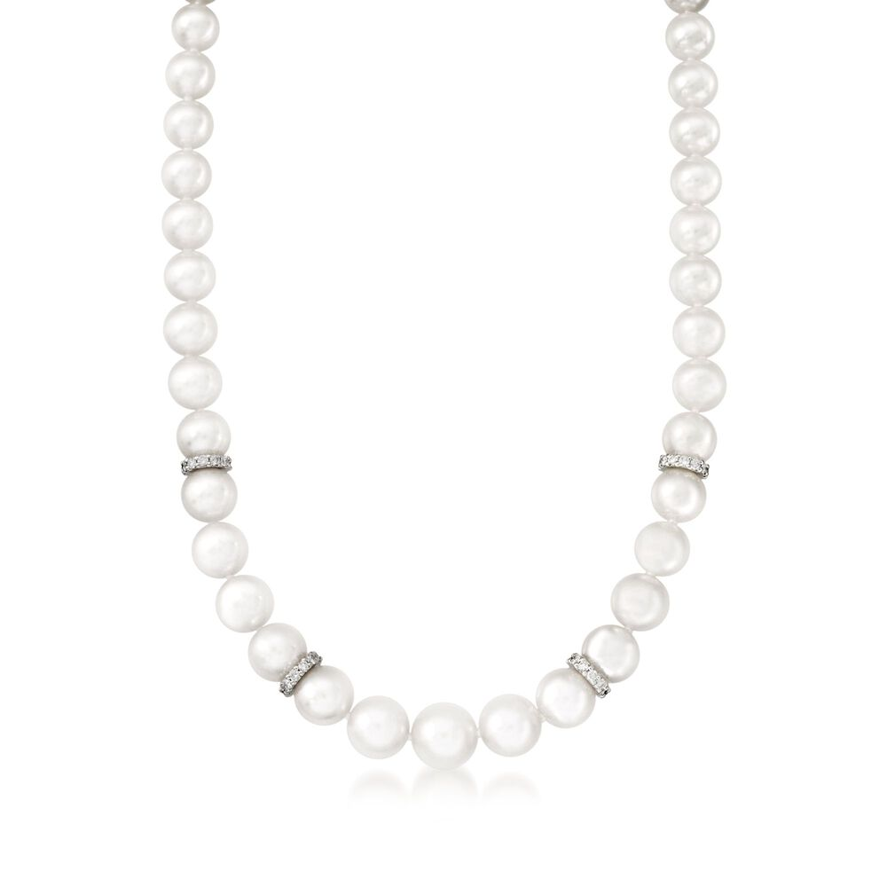 Mikimoto 7-9mm A1 Akoya Pearl Graduated Necklace With Diamonds and ...