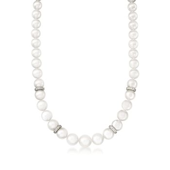 "Mikimoto 7-9mm A1 Akoya Pearl Graduated Necklace With Diamonds and 18kt White Gold. 18"", , default"