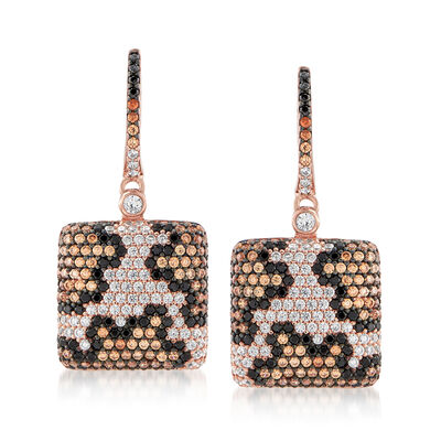 .40 ct. t.w. Multicolored CZ Leopard Print Drop Earrings in 18kt Rose Gold Over Sterling, , default