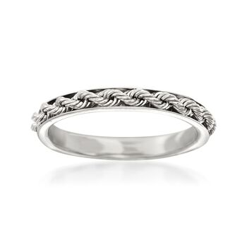 Italian 14kt White Gold Rope Design Ring, , default