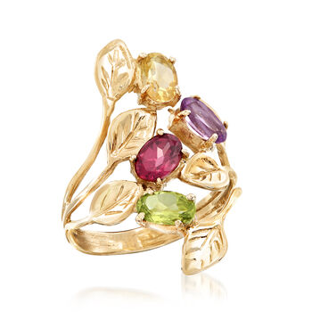 1.90 ct. t.w. Multi-Gemstone Leaf Bypass Ring in 14kt Yellow Gold, , default