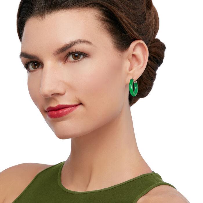 Jade Hoop Earrings with 14kt Yellow Gold