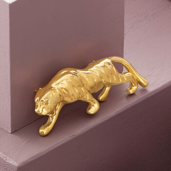 Italian 14kt Yellow Gold Panther Pin, , default