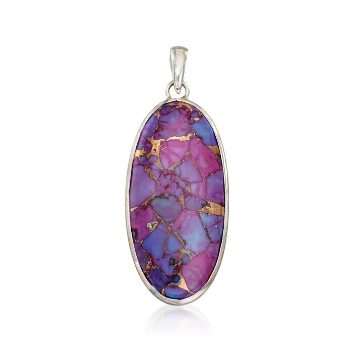 Oval Purple Turquoise Pendant in Sterling Silver