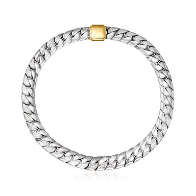 C. 1990 Vintage Curb-Link Necklace in Sterling Silver and 18kt Yellow Gold, , default