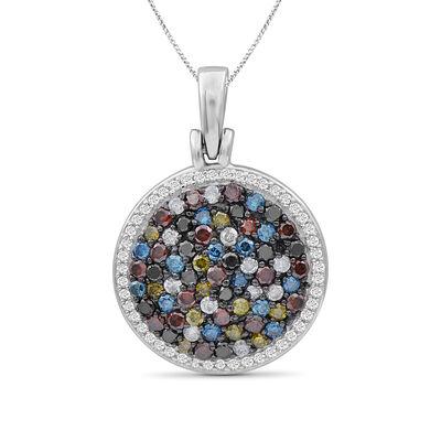1.07 ct. t.w. Multicolored Diamond Pendant Necklace in Sterling Silver