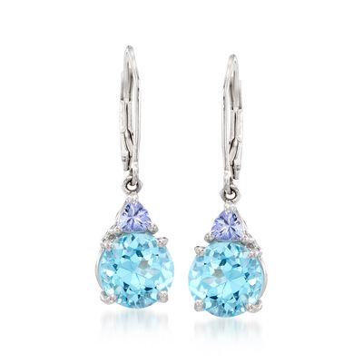 6.25 ct. t.w. Blue Topaz .40 ct. t.w. Tanzanite Drop Earrings in Sterling Silver, , default