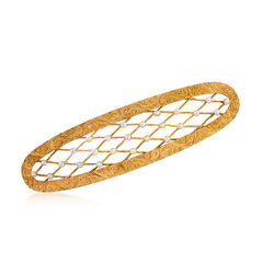C. 1950 Vintage 2mm Cultured Seed Pearl Lattice Oval Pin in 14kt Yellow Gold, , default