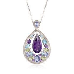 "5.90 ct. t.w. Multi-Stone Pendant Necklace in Sterling Silver. 18"", , default"