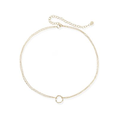 18kt Gold Over Sterling Silver Open Circle Choker Necklace, , default