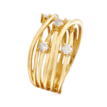 .50 ct. t.w. Diamond Highway Ring in 18kt Gold Over Sterling