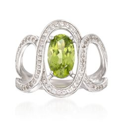 2.10 Carat Peridot and .60 ct. t.w. White Topaz Ring in Sterling Silver, , default