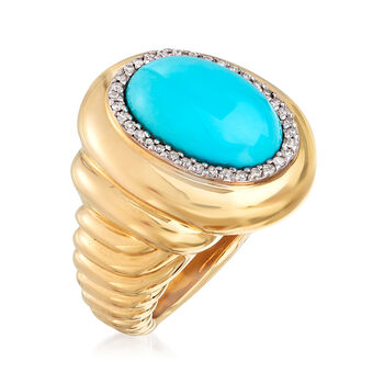 C. 1980 Vintage Turquoise and .15 ct. t.w. Diamond Ring in 14kt Yellow Gold. Size 5, , default