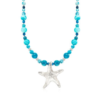 Blue Agate Bead and Starfish Drop Necklace in Sterling Silver, , default
