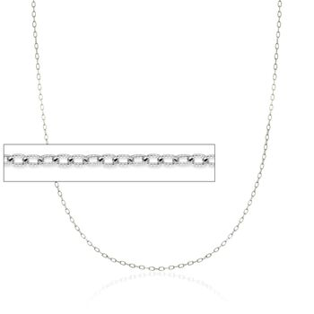 """1.9mm 14kt White Gold Textured Cable Chain Necklace. 18"""", , default"""