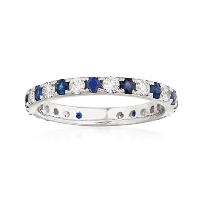 .50 ct. t.w. Sapphire and .50 ct. t.w. Diamond Eternity Ring in 14kt White Gold, , default