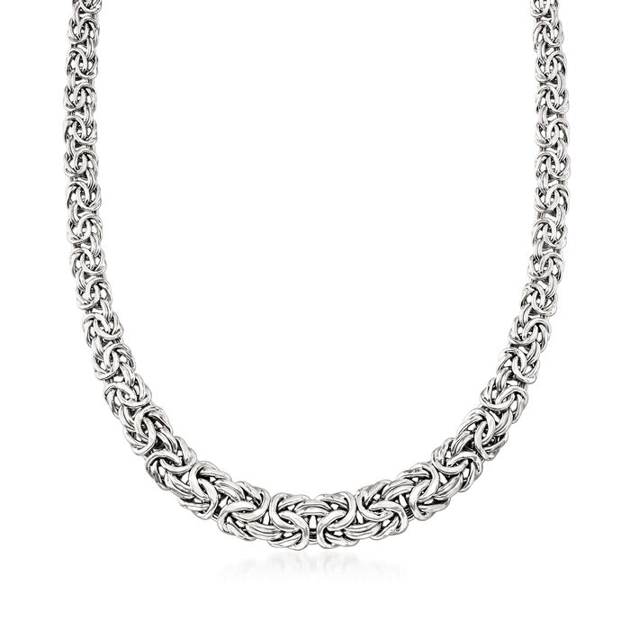 Sterling Silver Byzantine Necklace with Magnetic Clasp, , default