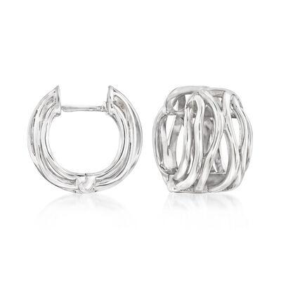 14kt White Gold Openwork Huggie Hoop Earrings, , default