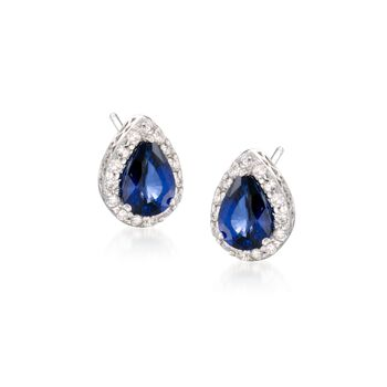 1.60 ct. t.w. Sapphire and .20 ct. t.w. Diamond Earrings in 14kt White Gold, , default