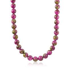 Italian 35.00 ct. t.w. Pink and Green Quartz Bead Necklace With Sterling Silver, , default
