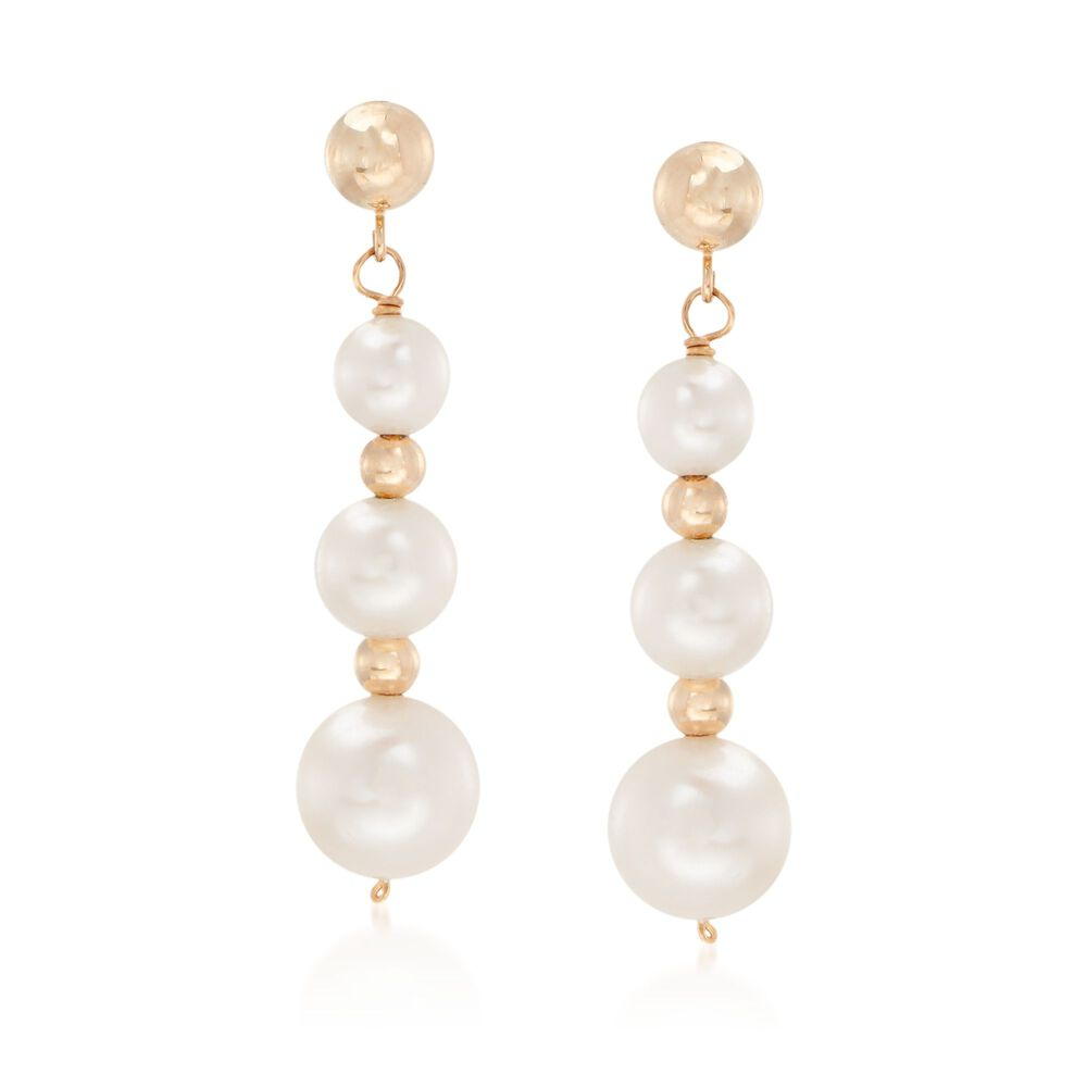 5 9mm Cultured Pearl Linear Drop Earrings In 14kt Yellow Gold Default