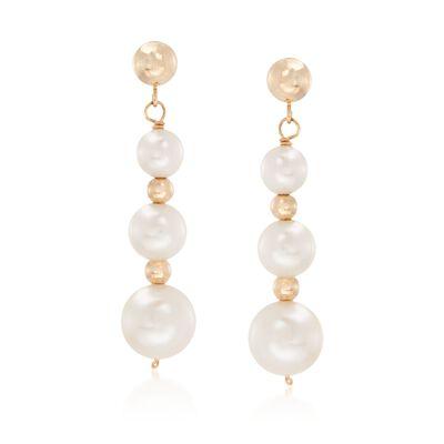 5-9mm Cultured Pearl Linear Drop Earrings in 14kt Yellow Gold , , default