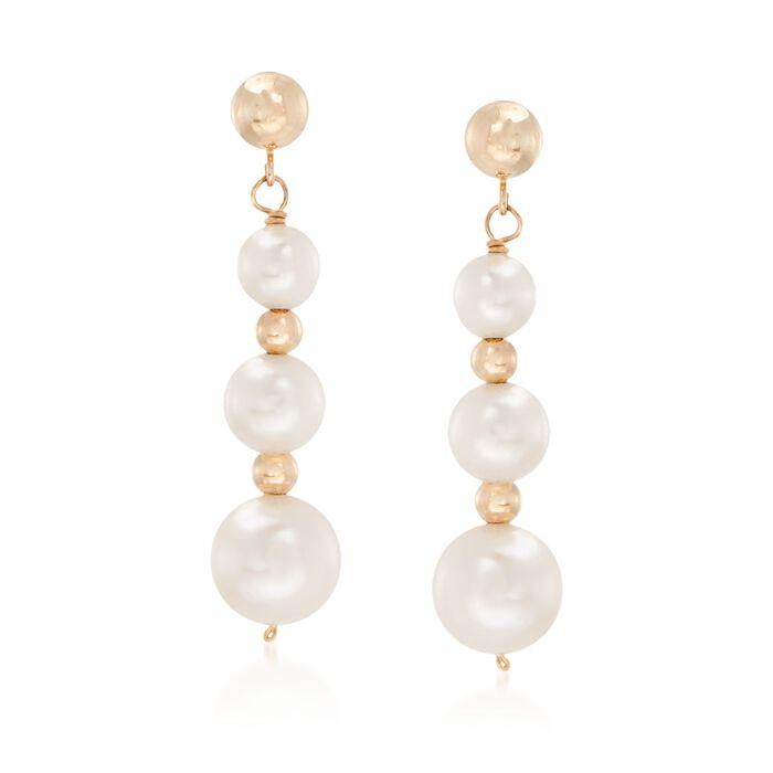 5-9mm Cultured Pearl Linear Drop Earrings in 14kt Yellow Gold, , default