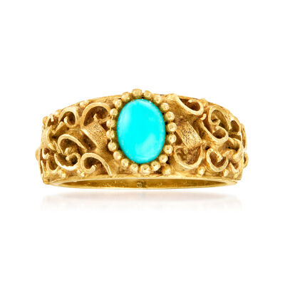 C. 1980 Vintage Reconstituted Turquoise Ring in 18kt Yellow Gold, , default