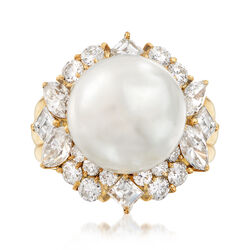 C. 1980 Vintage Cultured South Sea Pearl and 2.20 ct. t.w. Diamond Ring in 18kt Yellow Gold, , default
