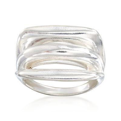 Italian Sterling Silver Split-Top Ring , , default