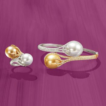 12-18mm White and Golden Cultured South Sea Pearl Bypass Ring With Diamonds in 18kt Two-Tone Gold. Size 7, , default