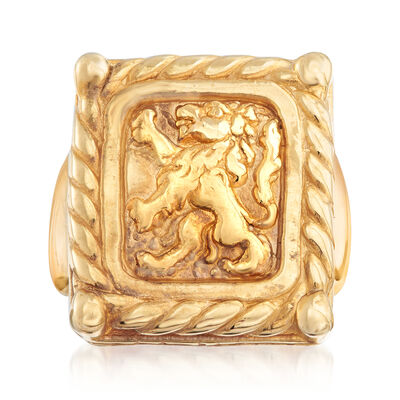Italian 14kt Gold Over Sterling Lion Ring , , default