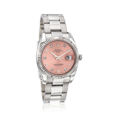Pre-Owned Rolex Date Women's 34mm Automatic Stainless Steel Watch with 18kt White Gold, , default