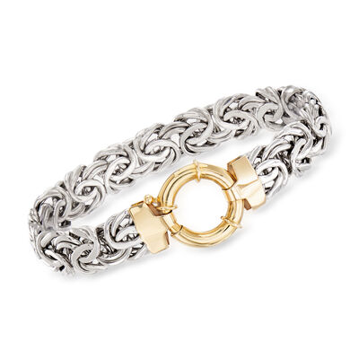 Sterling Silver Byzantine Bracelet with 14kt Yellow Gold, , default