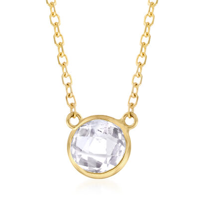 .90 Carat White Topaz Necklace in 14kt Yellow Gold, , default