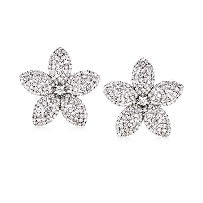 8.85 ct. t.w. Diamond Flower Earrings in 18kt White Gold