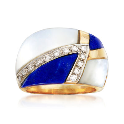 C. 1980 Vintage Mother-Of-Pearl, Lapis and .20 ct. t.w. Diamond Ring in 14kt Yellow Gold, , default
