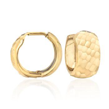 "14kt Yellow Gold Diamond-Cut Huggie Hoop Earrings. 1/2"", , default"