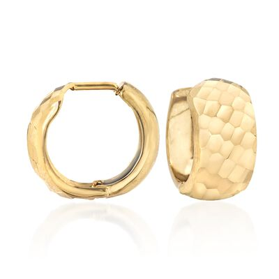 14kt Yellow Gold Diamond-Cut Huggie Hoop Earrings, , default