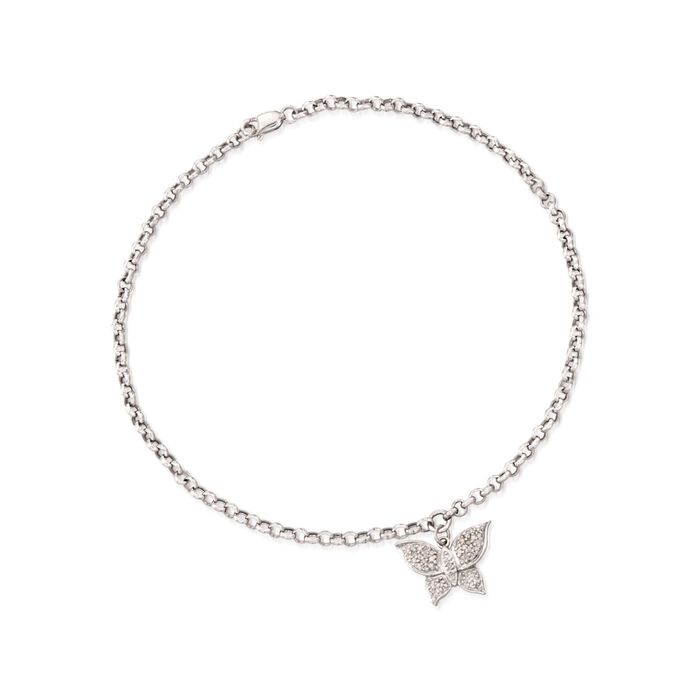 ".17 ct. t.w. Diamond Butterfly Charm Anklet in 14kt White Gold. 9.5"", , default"