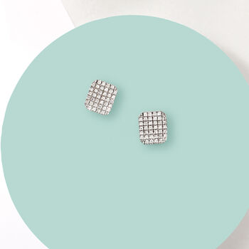 .15 ct. t.w. Pave Diamond Square Earrings in 14kt White Gold, , default