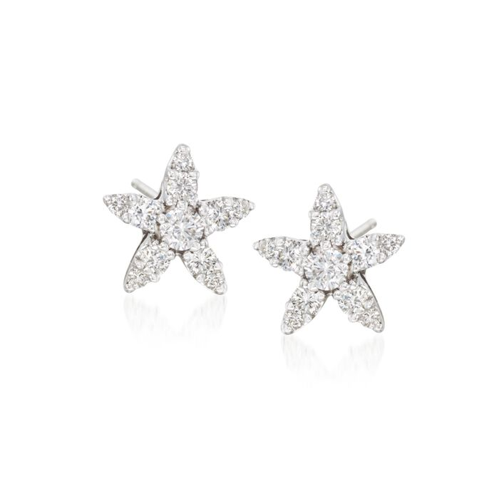 "Roberto Coin ""Tiny Treasures"" .66 ct. t.w. Diamond Earrings in 18kt White Gold. , , default"