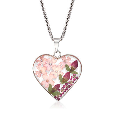 Dried Flower Heart Pendant Necklace in Sterling Silver, , default
