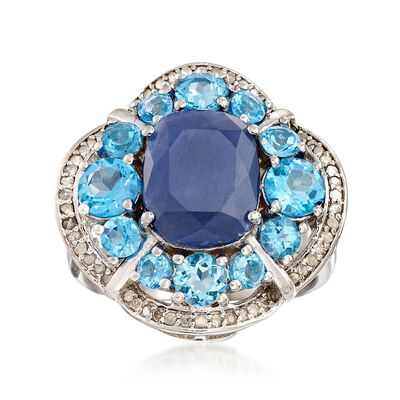 4.50 Carat Sapphire and 2.50 ct. t.w. Blue Topaz Ring with .22 ct. t.w. Diamonds in Sterling Silver, , default